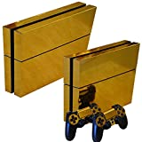 FriendlyTomato PS4 Console and DualShock 4 Controller Skin Set - Gold Color - PlayStation 4 Vinyl Colour