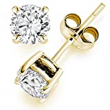 Image of 1 Carat Ideal Cut Diamond Stud Earrings 14K Yellow Gold Round 4 Prong Push Back (J-K Color, VS1-VS2
