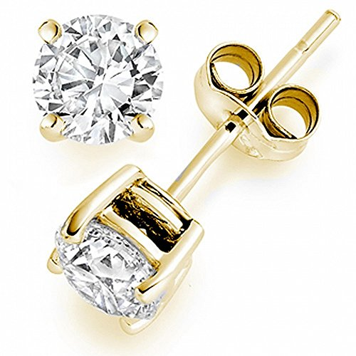 1 Carat Solitaire Diamond Stud Earrings 14K Yellow Gold Round Brilliant Shape 4 Prong Push Back (L-M Color, I1-I2 Clarity)