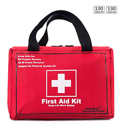 130 Pieces Premium First Aid Kit Bag, Be Prepared for Office, Home, Car, School, Emergency, Survival, Camping, Hunting, and Sports – By EnergeticSky