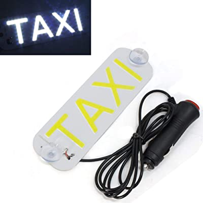 Taxi Sign, Taxi LED Light Sign Décor for Cars LED Removable Rideshare Driver Taxi Light up Sign Decor Accessories for DC 12: Automotive