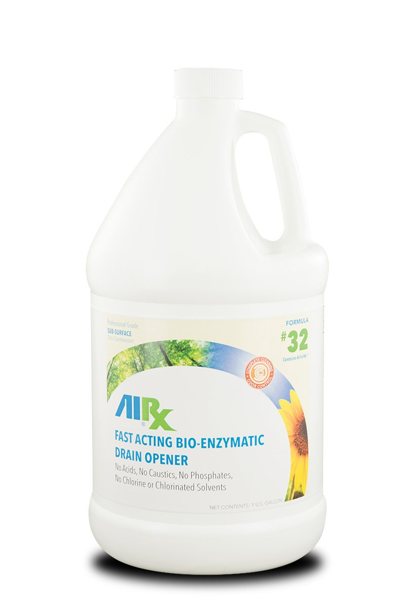 Airx RX 32 Bio-Enzymatic Drain Opener, 1 Gallon Bottle, Clear/Light Blue by Airx Labs