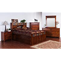 Sunny Designs 2333DC-SQ Santa Fe Storage Bed with Slate, Queen