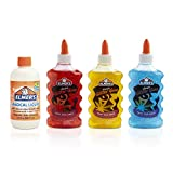 Elmer's Magical Liquid - Slime Activator and Elmer's Liquid Glitter Glue, Washable, Red, Yellow, Blue, 6 Ounces Each - Great For Making Slime