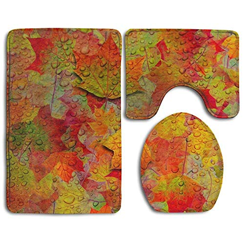 Non Slip Absorbent Water Bathroom Rug Toilet Sets, Autumn Maple Leaves Fashion Bathroom Rug Mats Set 3 Piece Anti-Skid Pads Bath Mat + Contour + Toilet Lid Cover
