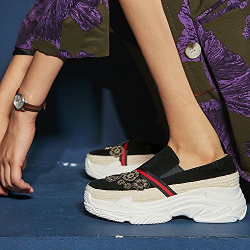 Chaussures Femme Black KJJDE Rivets Semelles Élastique Q1417 Coins Plateformes À 39 WSXY Bande Fleurs dq77gw