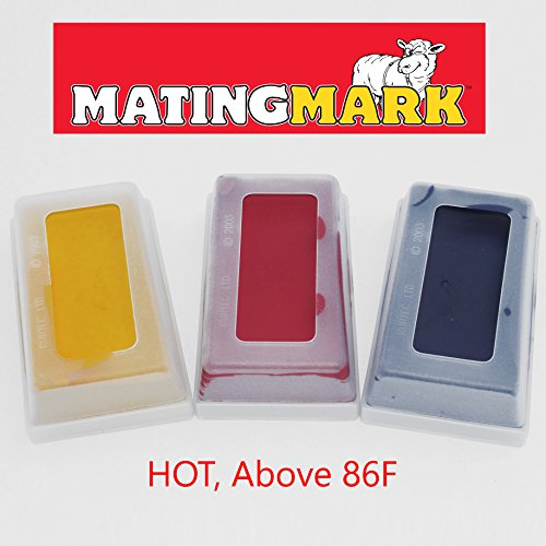 MATINGMARK Sheep & Goat Mating Crayon Block Marker for Ram Breeding/Marking Harness by Rurtec, 3 Pack (HOT Temperature) YELLOW, RED, PURPLE, Made in New Zealand