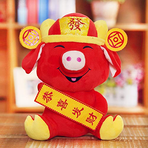Chinese New Year Decorations - Year of The Pig Festival Decoration Plush Piggy with Greetings