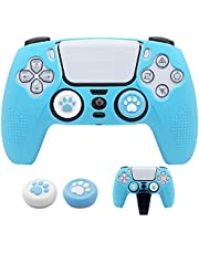 BRHE PS5 Controller Skin Dockable Kawaii Accessories Silicone Grip Cover Case Set for Playstation 5 Gamepad Joystick with 2 Cute Cat Claw Thumb Caps (Blue)