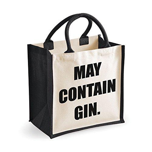 Medium Jute Bag enthalten kann Gin schwarz Tasche Mütter Tag Neue Mama Geburtstag Weihnachtsgeschenk