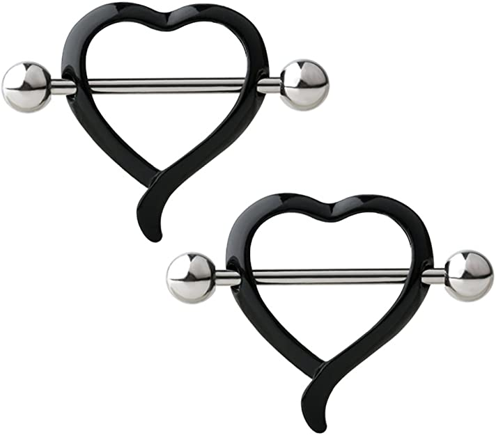 Details about  /PAIR Artistic Heart Shaped Nipple Shields Rings Steel Barbells Body Jewelry