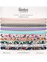 Parker Baby Girl Braided Headbands, Assorted 10 Pack of...