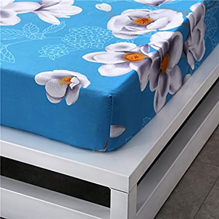 Saturna, Blue, Full,1 Fitted Sheet Stain Resistant Wrinkle Hypoallergenic Zhi ORIHOME Fitted Sheet Saturna Flower Printing Fitted Sheet Microfiber Bedding