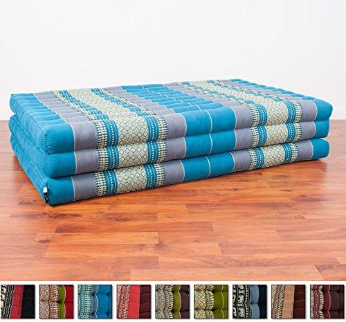 Leewadee Thai Massage Mat XL, 82x46x3 inches, Kapok Fabric, Blue, Premium Double Stitched by Leewadee