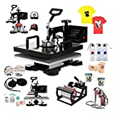 OrangeA Heat Press 8 in 1 Swing Away Heat Press Machine 1000W Hat Press 15X15Inch Heat Platen Multifunction Hat Mug Plate Cap (8 in 1 15X15Inch)
