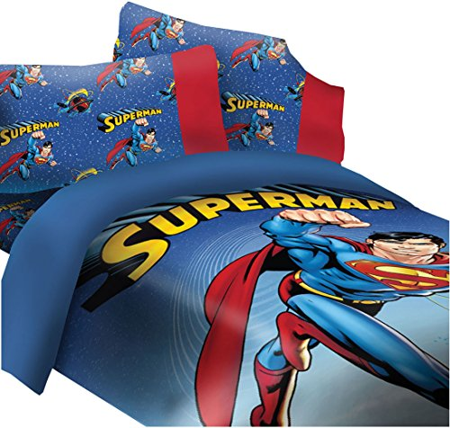 DC Comics Superman Universe Super Soft Luxury Full Size 4 Piece Comforter (Superman Full Comforter)