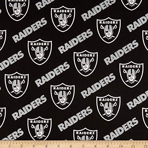 Fabric Traditions NFL Cotton Broadcloth Oakland Raiders Black/Silver Fabric by The Yard,