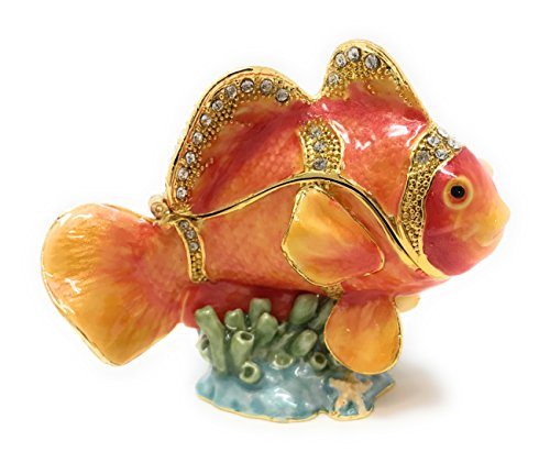 Kubla Craft Enameled Orange Clown Fish Trinket Box by, Accented with Austrian Crystals, 2.5T (Austrian Crystal Fish)