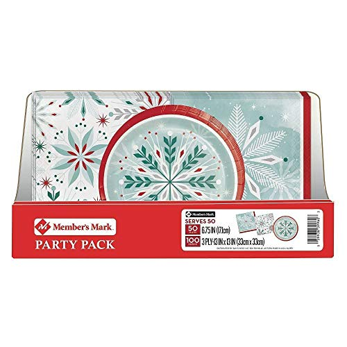 Member's Mark Wonderland Frost Snowflake Party Pack. Disposable Performa Paper Christmas Plates with Thick and Highly Absorbent 3 Ply Napkin. Perfect for Holiday Parties and Events. (Christmas Dessert Paper Plates)