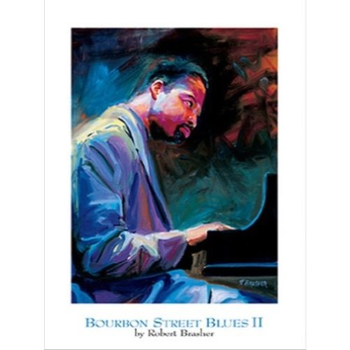 - Buyartforless Bourbon Street Blues II by Robert Brasher 18x24 Art Print Poster Vintage Jazz Blues Music New Orleans Piano Player Harry Conniff Jr.