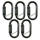 Fusion Climb Ovatti Military Tactical Edition Steel Auto-Lock Oval-Shaped Carabiner Black 5-Pack