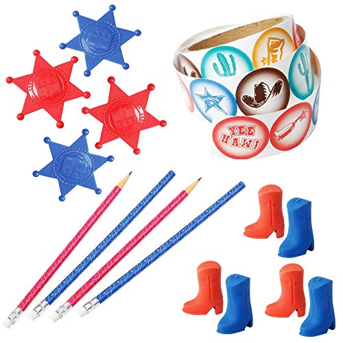 (Western Party Favor Pack - Cowboy Cowgirl Birthday Party Supply Kit - Pencils Erasers Sheriff Badges and Stickers - 149 Piece Set)