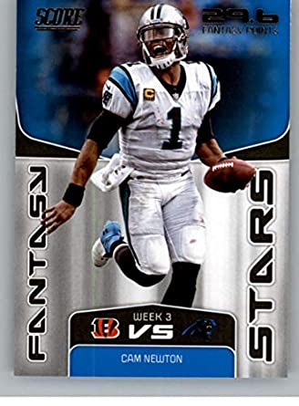 e31c469dbad 2019 Score NFL Fantasy Stars #8 Cam Newton Carolina Panthers Official  Football Card made by