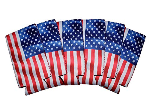 QualityPerfection 6 Slim American US Flag in The Wind - Neoprene Can Sleeves,Slim Beer Can Coolers,Energy Can Sleeves Great 4 Holidays,Sport/Business Events,Parties,Independence Day,BBQ,4th Of July by QualityPerfection (Image #2)