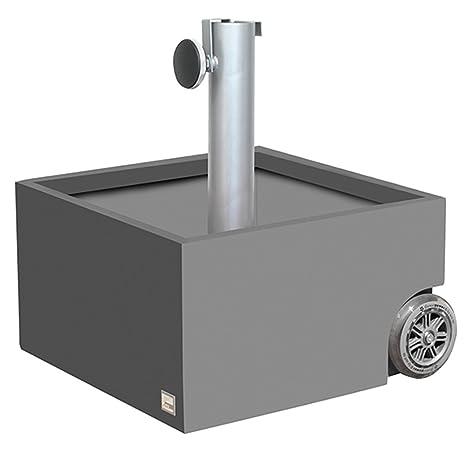 XXD Flowerpower – Base para sombrilla con ruedas engomado lisas de chapa de acero galvanizado<