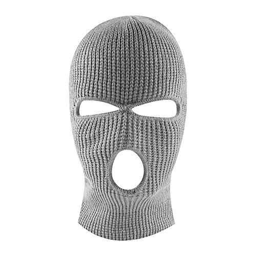 Knit Sew Acrylic Outdoor Full Face Cover Thermal Ski Mask by Super Z Outlet, Gray, One Size Fits Most (Full Thermal Mask Face)