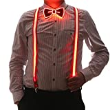 2 Pcs/Set, Good Quality Light Up Men's LED Suspenders And Bow Tie, Perfect for Music Festival Halloween Costume Party (Red)