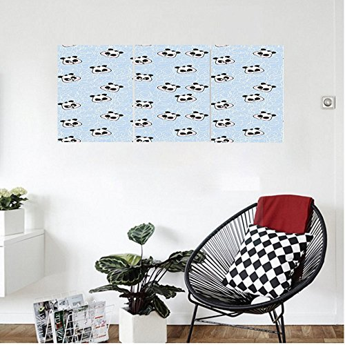 s Animal Decor Muzzles Panda Illustration With Happy Sad Funny Surprised Faces Different Expressions Bedroom Living Room Decor Blue Black (Spray Muzzle)