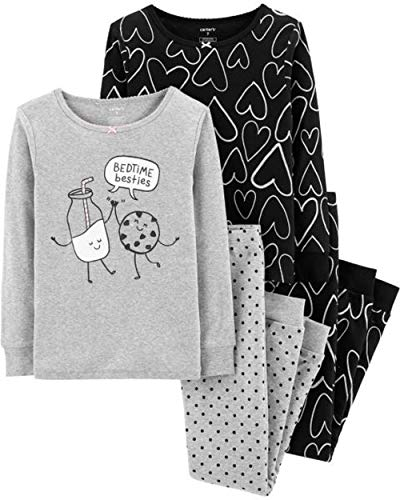 Carter's Girls Snug Fit Cotton 4 Piece PJ Pajama Sets (Heather/Black Hearts, 7)