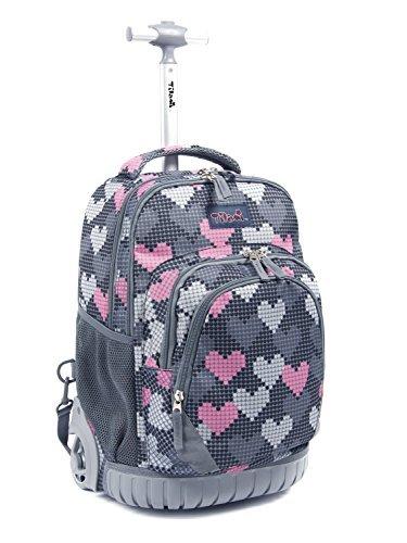 Tilami New Antifouling Design 18 Inch Human Engineering Design Laptop Wheeled Rolling Backpack Luggage for Girls (Falling Love) ()
