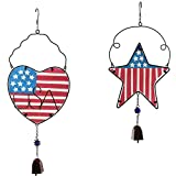 CEDAR HOME Wind chime Unique Outdoor Indoor Hanging Mobile Bell WindChime for Garden Lawn Yard Patio Waterproof Metal Glass Patriotic American Flag Home Decor, 9.5″ W x 1.5″ D x 23″ H, 2 Set For Sale