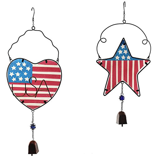"""CEDAR HOME Wind chime Unique Outdoor Indoor Hanging Mobile Bell WindChime for Garden Lawn Yard Patio Waterproof Metal Glass Patriotic American Flag Home Decor, 9.5"""" W x 1.5"""" D x 23"""" H, 2 Set"""
