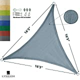 LyShade 16'5'' x 16'5'' x 16'5'' Triangle Sun Shade Sail Canopy with Stainless Steel Hardware Kit (Cadet Blue) - UV Block for Patio and Outdoor