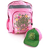 John Deere Girls Backpack with Baseball Cap Hat Set (S/M (4-8), Peace Love Tractors)