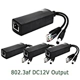 ANVISION 4-Pack Active 12V PoE Splitter Adapter Injector, IEEE 802.3af Compliant 10/100Mbps, DC 12V Output for IP Camera Wirelss AP Voip Phone AV-PS12*4