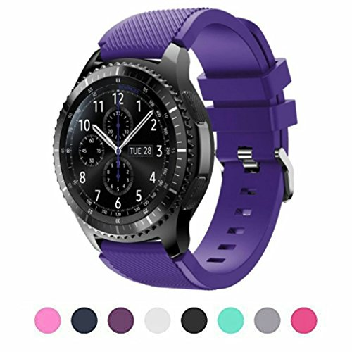 Wearable Plum - Sunface Sunface Plum Bands for Gear S3 Frontier/Classic Watch Silicone Bracelet, Sports Silicone Band Strap Replacement Wristband for Samsung Gear S3 Frontier/S3 Classic