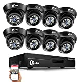 XVIM Security Camera System for Home, 8 Channel 1080N DVR Recorder with 8pcs 720P Outdoor Indoor IP66 Waterproof Surveillance Cameras, Motion Detection, 85ft Night Vision(No HDD)
