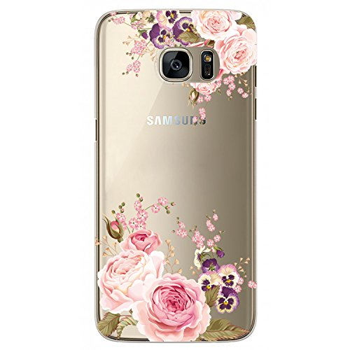 JAHOLAN Cute Girl Floral Design Clear TPU Soft Bumper Slim Flexible Silicone Cover Phone Case for Samsung Galaxy S7 - Rose Flower
