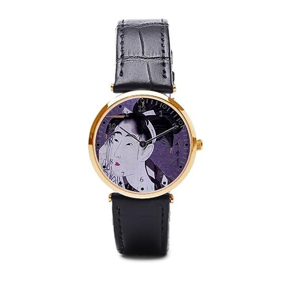 Cielo estrellado lujo muñeca relojes retro asiáticos correa de piel relojes para hombre