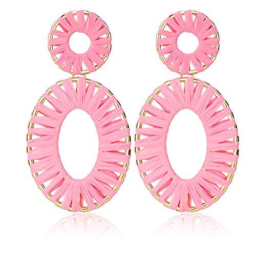 Handmade Raffia Earrings Lightweight Geometric Straw Dangle Earrings for Women Pink
