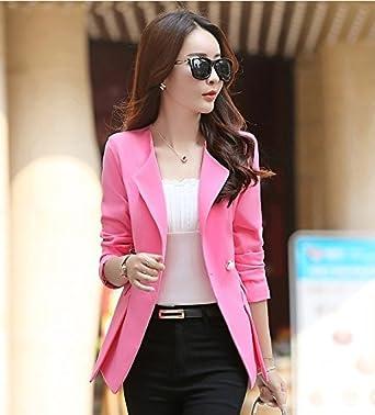 La Mujer Traje Slim, Pure-Capa de Color, HYYX332-rosa roja ...