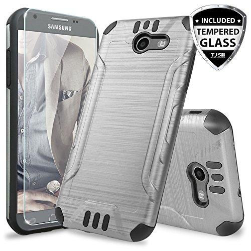 TJS Galaxy J3 Emerge/J3 Prime/Amp Prime 2/Express Prime 2/Sol 2/J3 Mission/J3 Luna Pro/J3 Eclipse Case, with [Tempered Glass Screen Protector] Hard Inner Layer Metallic Brush Finish Case (Grey)