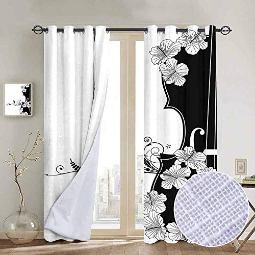 NUOMANAN Decor Curtains by Art Nouveau,Flower Musical Composition with Bird Scrolled Lily Petals Nature Growth,Black and White,Wide Blackout Curtains, Keep Warm Draperies,1 Pair 84