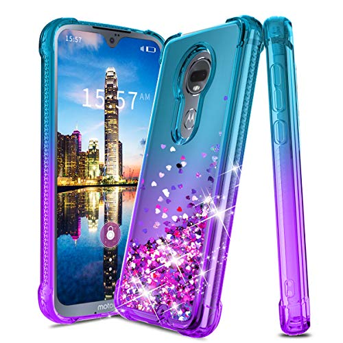 OEAGO Moto G7 Case, Motorola G7 Plus Case, Silicone Liquid Bling Glitter Phone Case Cover for Girls Women-Teal/Purple