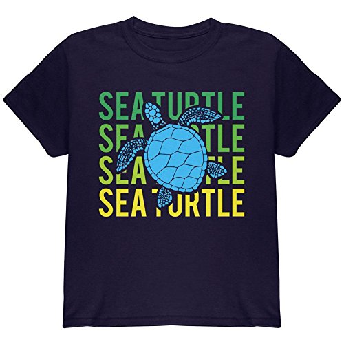 (Animal World Sea Turtle Stacked Repeat Youth T Shirt Navy YLG)
