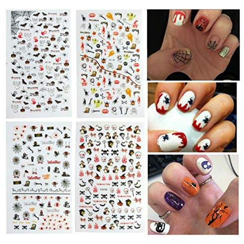 Dadiii Halloween Nail Art Stickers 4 Sheets Self-adhesive Nail Tattoo Decals Sticker Wraps with Halloween Designs (1) -